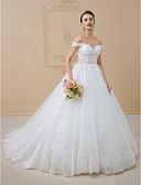 olcso Menyasszonyi ruhák-A-vonalú / Hercegnő Aszimmetrikus Kápolna uszály Tüll / Fénylő csipke Made-to-measure esküvői ruhák val vel Flitter / Csipke által LAN