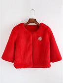 abordables Chaquetas Vaqueras para Mujer-Mujer Diario Otoño / Invierno Regular Abrigo, Un Color Escote Redondo Manga Larga Poliéster Rojo Tamaño Único