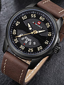 cheap Sport Watches-Men's Sport Watch / Military Watch / Wrist Watch Japanese Calendar / date / day / Chronograph / Water Resistant / Water Proof Genuine Leather Band Luxury / Vintage / Casual Black / Brown / Large Dial