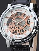 رخيصةأون ساعات جيش-WINNER للرجال ساعة المعصم داخل الساعة ميكانيكي يدوي نقش جوفاء جلد فرقة مماثل قديم أنيق أسود - أسود وذهبي ذهبي روزي / أبيض / ستانلس ستيل
