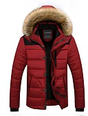 cheap Men's Downs & Parkas-Men's Padded - Solid Colored, Fur Trim Hooded
