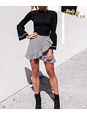 זול חולצה-S / M שחור / אפור צווארון עגול סתיו כותנה, סוודר רגיל שרוול ארוך אחיד יום יומי לבוש יומיומי בגדי ריקוד נשים / שרוול אבוקה