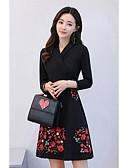 cheap Women's Dresses-Women's Embroidery Plus Size Daily A Line Dress - Floral V Neck Black XL XXL XXXL