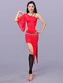 hesapli Göbek Dansı Giysileri-Göbek Dansı Kıyafetler Kadın's Eğitim Włókno mleczne Yarım Kol Düşük Elbise Şort