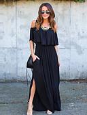 baratos Vestidos de Mulher-Mulheres Trabalho Moda de Rua Algodão Bainha Vestido Sólido Decote Canoa Longo Preto