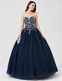 Χαμηλού Κόστους Βραδινά Φορέματα-Βραδινή τουαλέτα Καρδιά Μακρύ Σατέν / Τούλι Κοκτέιλ Πάρτι / Επίσημο Βραδινό Φόρεμα με Χάντρες / Πούλιες / Πλισέ με TS Couture®