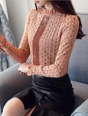 זול חולצות לנשים-אחיד חלול צווארון עגול קצר מתוחכם כותנה, חולצה - בגדי ריקוד נשים