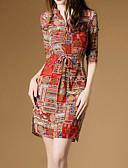 baratos Vestidos Estampados-Mulheres Algodão Solto Vestido Estampa Colorida Colarinho de Camisa Acima do Joelho / Delgado