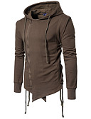 cheap Men's Tees & Tank Tops-Men's Plus Size Cotton Jacket - Solid Colored, Pure Color Hooded / Long Sleeve