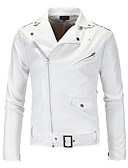 cheap Men's Sweaters & Cardigans-Men's Punk & Gothic Street chic Slim Leather Jacket - Solid Colored
