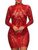 זול שמלות נשים-אדום גיזרה נמוכה מיני / מעל הברך אחיד - שמלה נדן מועדונים בגדי ריקוד נשים / סתיו / חורף / פאייטים