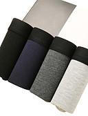 cheap Men's Underwear & Socks-Men's Boxer Briefs Solid Colored 4 Pieces Mid Waist