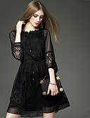 cheap Women's Dresses-Women's Street chic A Line Dress - Solid Colored Black, Lace / Spring / Fall / Sheer
