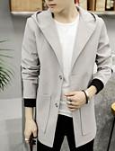 cheap Men's Jackets & Coats-Men's Wool Coat - Solid Colored Hooded