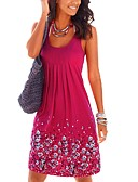 cheap Casual Dresses-Women's Daily / Holiday Street chic Loose Dress - Floral Print Purple Fuchsia Light Blue M L XL