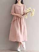 baratos Vestidos de Mulher-Mulheres Activo Algodão Evasê Vestido Sólido Médio