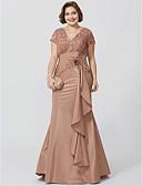 olcso Estélyi ruhák-Sellő fazon V-alakú Földig érő Seprő uszály Taft Gyöngyös csipke Örömanya ruha val vel Virág által LAN TING BRIDE®