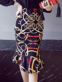 tanie Damska spódnica-Damskie Szykowne i nowoczesne Spódnice i sukienki / Bodycon Spódnice Nadruk Falbana Wysoka talia