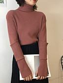 tanie Swetry damskie-Damskie Codzienny Solidne kolory Długi rękaw Regularny Pulower, Okrągły dekolt Jesień Wełna Fioletowy / Żółty / Wino Jeden rozmiar