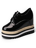 cheap Corsets-Women's Shoes Patent Leather Winter Comfort Oxfords Round Toe For Casual Black