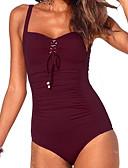 tanie Bikini i odzież kąpielowa 2017-Damskie Boho Pasek Czarny Czerwony Granatowy Jednoczęściowy Stroje kąpielowe - Solidne kolory L XL XXL