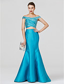 cheap Evening Dresses-Mermaid / Trumpet Off Shoulder Floor Length Satin / Jersey Cocktail Party / Prom / Formal Evening Dress with Beading / Criss Cross by TS Couture®