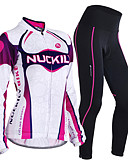 cheap Women's Two Piece Sets-Nuckily Women's Long Sleeves Cycling Jersey with Tights - Purple Geometic Bike Clothing Suits, Thermal / Warm, Anatomic Design,