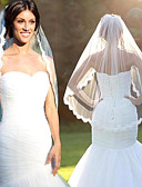 cheap Wedding Veils-One-tier Lace Applique Edge / Fashion Wedding Veil Elbow Veils with Lace Lace / Tulle / Oval