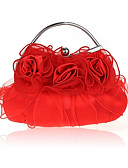 cheap Evening Dresses-Women's Bags Silk Evening Bag Ruffles Floral Print Red / Beige / Purple