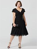 olcso Szalagavató ruhák-A-vonalú V-alakú Térdig érő Sifon Örömanya ruha val vel Gyöngydíszítés Fodrozott által LAN TING BRIDE®