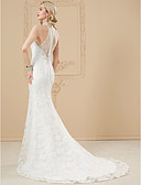 cheap Wedding Dresses-Mermaid / Trumpet Illusion Neck Court Train Tulle Over Lace Made-To-Measure Wedding Dresses with Beading / Appliques / Buttons by LAN
