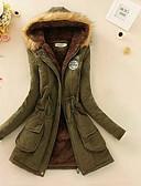 olcso Női hosszú kabátok és parkák-Női Utcai sikk Hosszú Pamut Anorák - Tiszta szín, Egyszínű Szöveg Régies (Vintage)