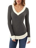 cheap Women's Sweaters-Women's Going out Active / Street chic / Sophisticated T-shirt - Solid Colored V Neck / Fall / Winter