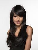 tanie Kwarcowy-Ludzkie Włosy Capless Peruki Włosy naturalne Prosto Długo Tkany maszynowo Peruka Damskie / Prosta