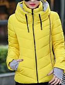 cheap Women's Down & Parkas-Women's Daily / Going out Solid Colored Short Padded, Cotton / Polyester Long Sleeve Yellow / Fuchsia / Light Blue XL / XXL / XXXL