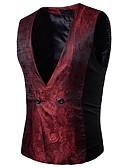 hesapli Erkek Blazerları ve Takım Elbiseleri-Erkek Parti Bahar / Sonbahar Normal Vesta, Solid V Yaka Kolsuz Pamuklu Siyah / Mor / Şarap L / XL / XXL / İnce
