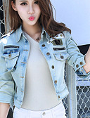 cheap Women's Denim Jackets-Women's Going out Basic Cotton Denim Jacket - Solid Colored Shirt Collar