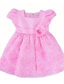 Χαμηλού Κόστους Φορέματα για κορίτσια-Νήπιο Κοριτσίστικα Γενέθλια / Καθημερινά Μονόχρωμο / Λουλούδι Κοντομάνικο Βαμβάκι / Πολυεστέρας Φόρεμα Λευκό / Χαριτωμένο / Πριγκίπισσα