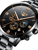 cheap Quartz Watches-Men's Mechanical Watch Japanese Calendar / date / day / Chronograph / Water Resistant / Water Proof Stainless Steel Band Luxury / Elegant / Christmas Black / Silver / Moon Phase