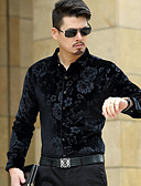 cheap Men's Shirts-Men's Party Shirt - Floral Jacquard Classic Collar / Long Sleeve