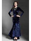 abordables Vestidos de Mujer-Mujer Discoteca Vintage / Chic de Calle Terciopelo Línea A / Corte Bodycon / Corte Sirena Vestido - Cortado, Un Color Maxi / Midi