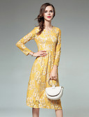 cheap Women's Dresses-Women's Lace Going out A Line Dress - Solid Colored Lace Spring Yellow L XL XXL