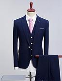 billige Dresser-Marineblå Mønster Standard Polyester Dress - Spiss Aftæpning Enkelt Brystet Enn-knapp