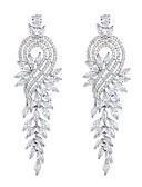 levne Dámské šaty-Dámské Visací náušnice - Zirkon, Stříbrná Leaf Shape Elegantní, Prohlášení Stříbrná Pro Svatební / Večerní oslava