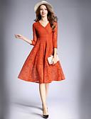 זול שמלות נשים-צווארון V מידי תחרה, אחיד - שמלה גזרת A / תחרה סגנון רחוב עבודה בגדי ריקוד נשים