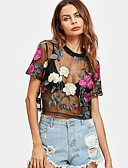 cheap Women's Tops-Women's Going out / Club T-shirt - Floral Lace / Spring / Summer / Embroidery / Sheer
