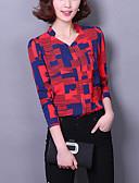 זול חולצה-קשת צווארון V סגנון רחוב סוף שבוע / עבודה / ליציאה חולצה - בגדי ריקוד נשים