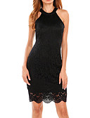 cheap Women's Dresses-Women's Cute Skinny Sheath Dress - Solid Colored, Lace Halter