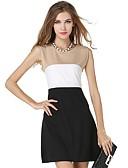 baratos Vestidos de Mulher-trabalho feminino vestido de chiffon solto magro - bloco de cor, cintura alta básica