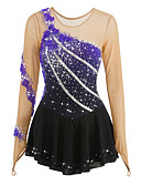 cheap Ice Skating Dresses , Pants & Jackets-Figure Skating Dress Women's / Girls' Ice Skating Dress Flower Halo Dyeing Spandex Leisure Sports / Competition Skating Wear Breathable, Handmade Fashion Long Sleeve Ice Skating / Figure Skating